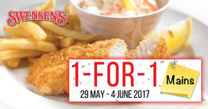 Swensen's: 1-for-1 mains at ALL outlets! Valid from 29 May – 4 Jun 2017