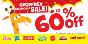 "Toys ""R"" Us: Up to 60% off Geoffrey warehouse sale at City Square Mall from 27 May 2017"