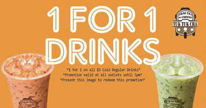Tuk Tuk Cha: 1-for-1 drinks at ALL 13 outlets on 27 Sep 2017, from opening till 5pm!