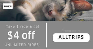 Uber: Save $4 off unlimited uberX & uberPOOL rides from 29 May – 1 Jun 2017