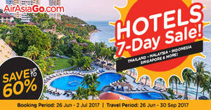 Air Asia Go: 7-Day sale – Save up to 60% off hotels! Book from 26 Jun – 2 Jul 2017