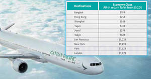 Cathay Pacific: Promo fares fr $188 all-in return to over 50 destinations with OCBC cards! Book from 29 Jun – 18 Jul 2017