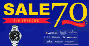 Crystal Time: Up to 70% off branded timepieces warehouse sale! From 29 Jun – 2 Jul 2017