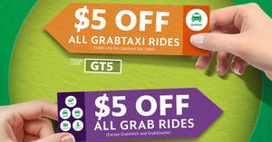 Grab: $5 off ALL rides (except Hitch & Shuttle) promo code! Valid from 19 – 26 Jun 2017, 10am to 6am