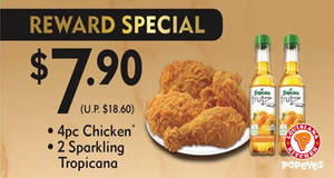 Popeyes: Special $7.90 (U.P. $18.60) 4pc chicken rewards set meal for two-days only on 21 & 28 Jun 2017