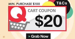 Qoo10: Grab free $20 cart coupons! Valid from 19 – 20 Oct 2017