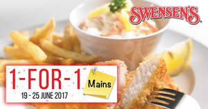 IT'S BACK! Swensen's 1-for-1 mains at ALL outlets! Valid from 19 – 25 Jun 2017