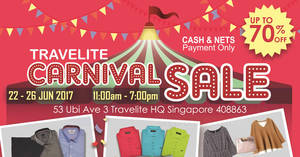Travelite Carnival Sale – Up to 70% off branded menswear, luggage & more fr $5! From 22 – 26 Jun 2017
