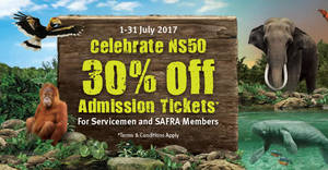 Wildlife Parks: 30% off Jurong Bird Park, River Safari, Night Safari & Singapore Zoo for servicemen & SAFRA members! From 1 – 31 Jul 2017