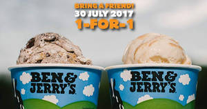 Ben & Jerry's: 1-for-1 ice cream scoops at ALL outlets on 30 July 2017!