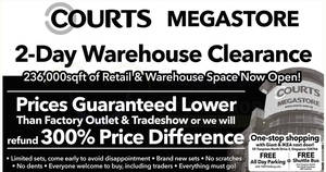 Courts Megastore 2-day warehouse clearance – prices start from $5! From 22 – 23 Jul 2017