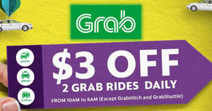 Grab: $3 off all Grab services (except GrabHitch & GrabShuttle) promo code! Valid from 19 – 21 Jul 2017
