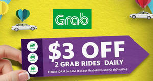 Grab: $3 off all Grab services (except Hitch & Shuttle) promo code! Valid from 24 – 31 Jul 2017