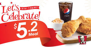KFC: 2pc chicken Celebration Meal at $5.20 for a limited time! From 26 Jul – 7 Aug 2017
