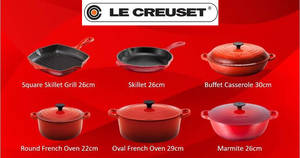 Le Creuset: 50% off classic collection bestsellers in Cherry Red at all retail counters! From 28 Jul – 31 Aug 2017