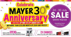 Mayer sale at IMM! From 24 – 30 Jul 2017