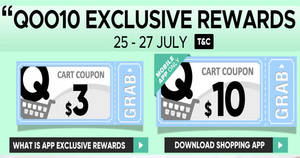 Qoo10: Grab free $3 and $10 cart coupons! From 25 – 27 Jul 2017