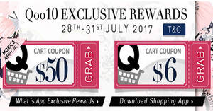 Qoo10: Grab free $6 and $50 cart coupons! From 28 – 31 Jul 2017
