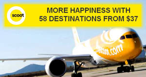 Scoot: Promo fares fr $37 all-in to over 55 destinations! Sale from 25 – 30 Jul 2017