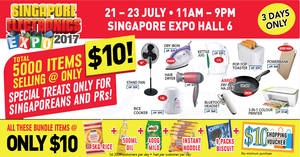 Singapore Electronics Expo – 5,000 items at $10 & more! From 21 – 23 Jul 2017