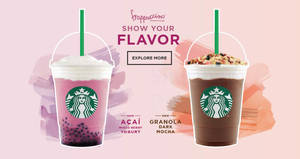 Starbucks new Acai Mixed Berry Yogurt Frappuccino & Granola Dark Mocha Frappuccino from 19 Jul 2017