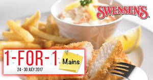 IT'S BACK! Swensen's 1-for-1 mains at ALL outlets! Valid from 24 – 30 Jul 2017