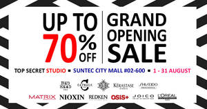 Top Secret Studio Grand Opening Sale at Suntec! From 1 – 31 Aug 2017