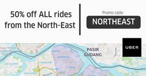 Uber: 50% off uberX & uberPOOL rides on trips starting from North-East areas! Valid from 21 – 27 Jul 2017
