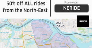 Uber: NEW 50% off rides promo code for trips starting from North-East! Valid from 28 Jul – 3 Aug 2017