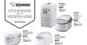 Zojirushi rice cookers, airpots & more offers at Tangs! Valid till 6 Aug 2017