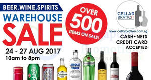 Cellarbration warehouse sale – over 500 items on sale! From 24 – 27 Aug 2017