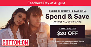 Cotton On: $20 off $70 spend OFF ALL brands online sale on 24 Aug 2017