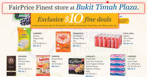 FairPrice Finest store at Bukit Timah Plaza: $10 deals – Coca-Cola, Ferrero, Udders & more! Till 30 Aug 2017