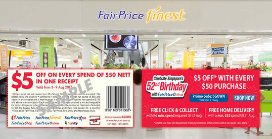 Fairprice 5 off feat 3 Aug 2017