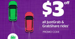 Grab: $3 off JustGrab & GrabShare rides promo code! Valid from 14 – 21 Aug 2017, 10am – 6am!