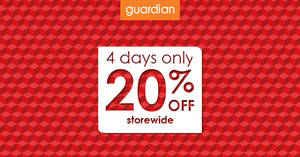 Guardian: 20% off storewide promotion – NO min spend! Valid from 24 – 27 Aug 2017