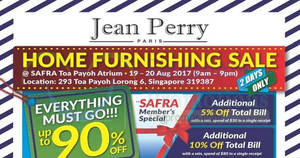 Jean Perry: Up to 90% off home furnishing sale at Safra Toa Payoh from 19 – 20 Aug 2017