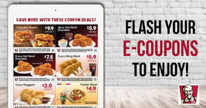 KFC: NEW discount e-coupons offers savings of up to $12! Valid from 18 Aug – 24 Sep 2017