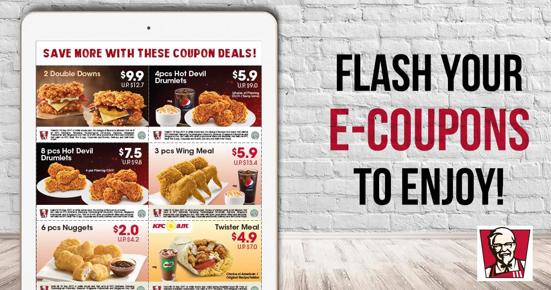 Kfc New Discount E Coupons Offers Savings Of Up To 12 Valid From 18 Aug 24 Sep 2017