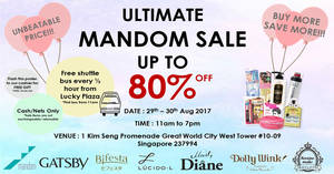 Mandom: Up to 80% off ultimate warehouse sale! From 29 – 30 Aug 2017