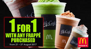 McDonald's: 1-for-1 Frappe at McCafe outlets from 21 – 27 Aug 2017