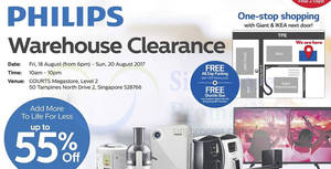 Philips up to 55% off warehouse clearance sale at COURTS Megastore! From 19 – 20 Aug 2017