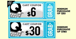 Qoo10: Grab free $6 and $30 cart coupons! From 18 – 20 Aug 2017