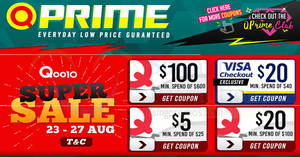 Qoo10: Super Sale is back – grab $5, $20 & $100 cart coupons! Valid from 23 – 27 Aug 2017