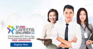STJobs Career and Development Fair 2017 from 19 – 20 Aug 2017