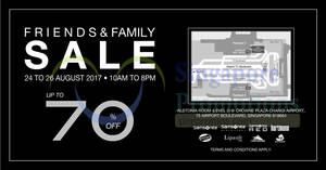 Samsonite: Up to 70% off Friends & Family sale! From 24 – 26 Aug 2017