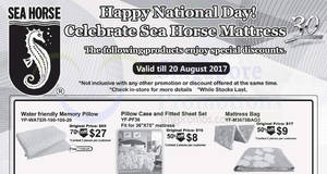 Sea Horse offers 20% to 70% off selected furniture, mattresses, beds & more! From 5 – 20 Aug 2017