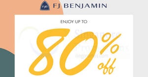 FJ Benjamin up to 80% off luxury & lifestyle labels sale from 29 – 30 Sep 2017