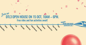 FREE travel on the entire Downtown Line (DTL) from 21 – 22 Oct 2017
