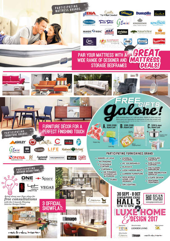 Luxe Home Design 2017 at Singapore Expo from 30 Sep 8 Oct 2017